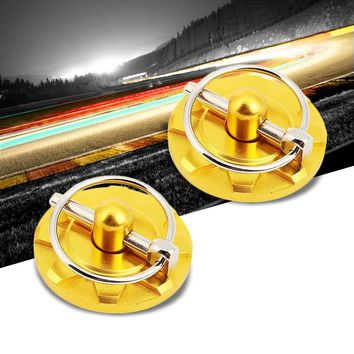 Gold Race Billet Style Aluminum Cosmetic Front Bonnet Hood Lock Pin+Cable+Tape