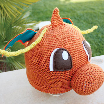 Dragonite Pokemon Inspired Hat With Wings and Antennae : Dragon Anime Kawaii Handmade Crochet Beanie Hat