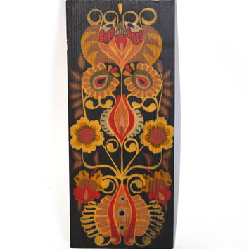 Ethnic Hand painted Wood Wall Art, Folk ornaments, Vintage Rustic Wooden Wall Hanging, Artisan Collectible Polish Folk Art, Bohemian Boho