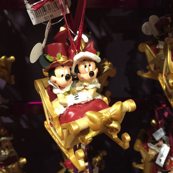Disney Christmas Ornament Victorian Mickey & Minnie Mouse Sleigh New With Tags