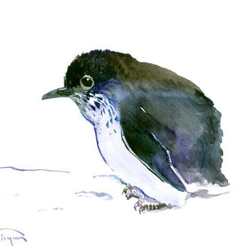 Cute Baby Penguin, original watercolor painting