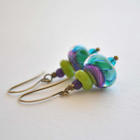 Teal Earrings, Lampwork Glass Earrings, Swirl Earrings, Colorful Earrings