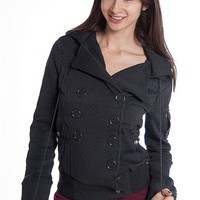 Ambiance Apparel Double Breasted Hooded Fleece Jacket - Charcoal