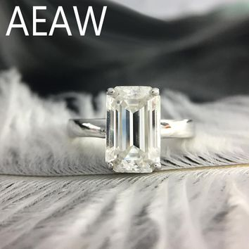 3 Carat ct 7x11mm DF Grade Emerald Cut Engagement&Wedding Moissanite Baguette Lab Diamond Ring in 18K Plated Sterling Silver