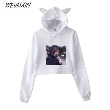 KPOP BTS Bangtan Boys Army WEJNXIN   Kawaii Cat Ear Crop Top Women Love Yourself  Cropped Sweatshirt  Boys V Photo Pullover Hoodies Women AT_89_10