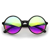 Unique Retro Round Crystal Kaleidoscope Lens Sunglasses 9627