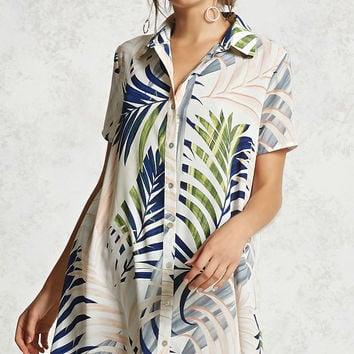Tropical Print Shirt Dress