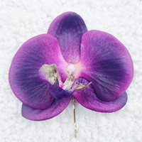 Rock Rockabilly Pin up Bridal  Purple Orchid hair flower hair grip