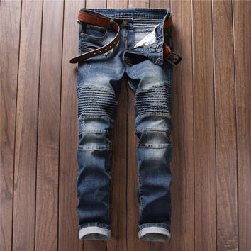 Fashion Men's Fashion Patchwork Club Slim Jeans [7417639811]