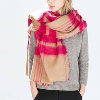 Rose Checkered Pattern Scarf