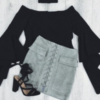 Fashion sexy lace up type double pocket package hip skirt Grey