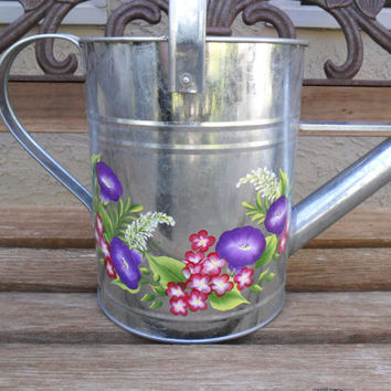 Hand Painted Watering Can Galvanized Purple Morning Glories