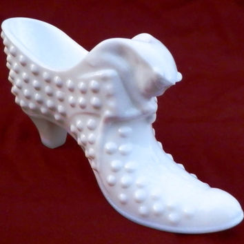 Fenton Hobnail White Milk Glass Shoe with Cat Head