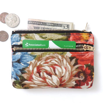 Floral Wallet Coin Purse Double Zipper Pouch Linen Flowers