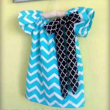Chevron Dress Turquoise (or other color) Chevron Peasant Dress for Infant, Baby, Toddler, Girl or Child
