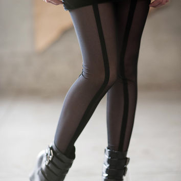Black leggings - sheer mesh with striped seam in the front and back, sexy footless tights sheer - murmuration