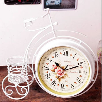 Iron Bicyclex Quartz Pastoral Style Double Sided Quiet Home Living Room Clock [6282680262]