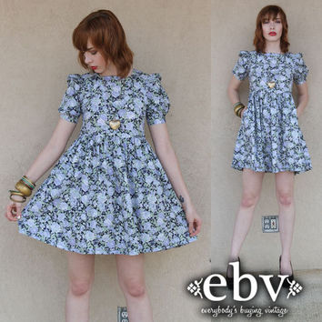 Vintage 80s Laura Ashley Floral  Cotton Puff Sleeve Party Dress XS S