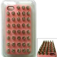 Fashion Punk DIY Studs and Spikes Cell Phone Case for iPhone 5 Studs Case Pink/Silvery