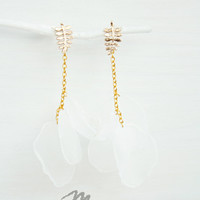 Ethereal Translucent Earrings - Diaphanous Wedding Jewelry - Bride - Bridesmaid - Fern - Dreamy Jewelry - Transparent and Golden - Delicate