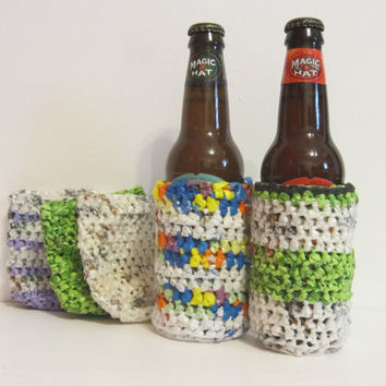 Can or Bottle Coozie -- Made from recycled plastic bags.