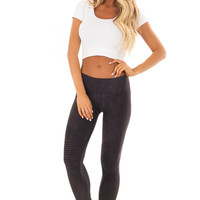 Comfy Vintage Black Moto Leggings with Stitched Detail