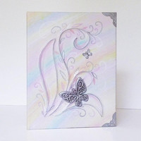 Leather Photo Album, Gift for Mother and Daughter, Girl, Women, Sister, Best Friend, Floral, Rainbow Butterfly Album, Scrapbook, Leather Art