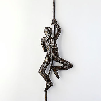Metal wall art - Climbing man on rope - home decor - Metal sculpture - home decor - Contemporary wall art