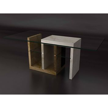 Elegant  Double Shelf  Dining Table With Chairs