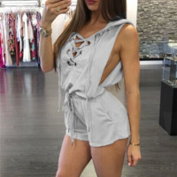 Solid Color Sleeveless Rompers