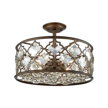 31092/4 Armand 4 Light Semi Flush In Weathered Bronze With Champagne Plated Crystal