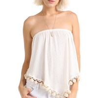 BOHO UNBALANCED POM POM TUBE TOP