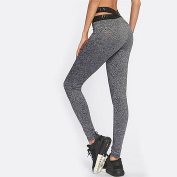 Contrast Crisscross Waist Marled Leggings Grey Crop Bottom Woman Clothes Autumn Stretchy Leggings
