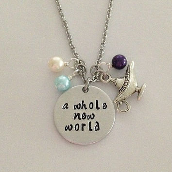 "Disney inspired Aladdin necklace ""a whole new world"" Jasmine hand stamped with pearls and genie lamp charm"
