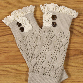 Lace Trim Boot Cuffs, Taupe