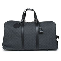 DCCKUG3 Gucci Duffle Luggage GG Supreme Carry On Bag Black Signature GG Leather New