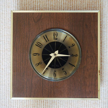 Seth Thomas Wall Clock, Mid Century Square Wood Brass Clock, Mid Century Modern Diamond Shape Clock