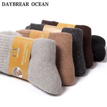 3 Pairs Fashion Brand Quality Soft Terry Wool Socks For Men Thickened Warm Autumn Winter Socks Casual Fleece Men Crew Socks