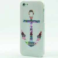 Clear Snap On Hard Case IPHONE 5 5G Plastic Skin Cover - Mayan Aztec tribal Nautical Anchor navajo sailor rainbow rope