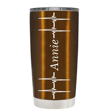 Personalized Heart Beat Pulse on Translucent Copper 20 oz Tumbler Cup