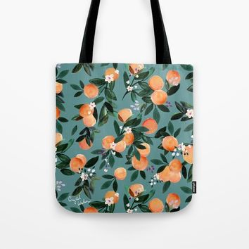 Dear Clementine - oranges teal by Crystal Walen Tote Bag by crystalwalen