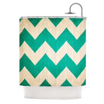 "Catherine McDonald ""2013"" Teal Chevron Shower Curtain"
