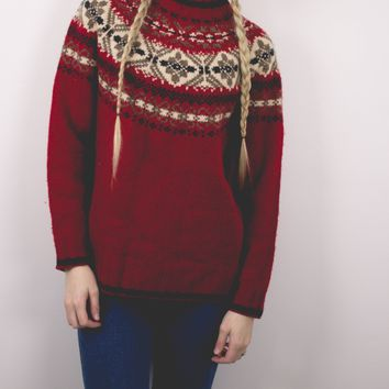 Vintage Red Nordic Sweater