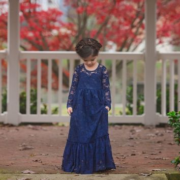 Maybelle Navy Blue Long Sleeve Lace Ruffle Bottom Lace Gown Dress