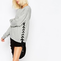 Cheap Monday Typo Laced Size Crop Sweatshirt