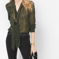 Tweed-Print Chiffon Tie-Neck Blouse | Michael Kors