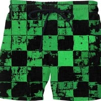 Green and Black Bricks Pattern, grunge tiles, blocks, dark fabric canvas