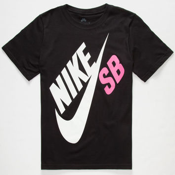 Nike Sb Big Logo Boys T-Shirt Black/Pink  In Sizes