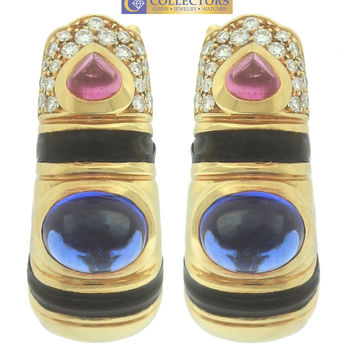 Marina B BVLGARI BULGARI Nabe 18K Gold Sapphire Diamond Enamel Clip-On Earrings