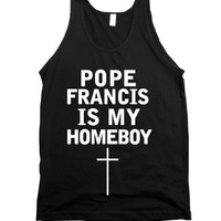 pope francis is my homeboy tank-Unisex Black Tank